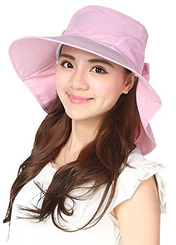 Jemis Women's Big Brim Summer Hat with Neck Cover (Big Pink Hat)