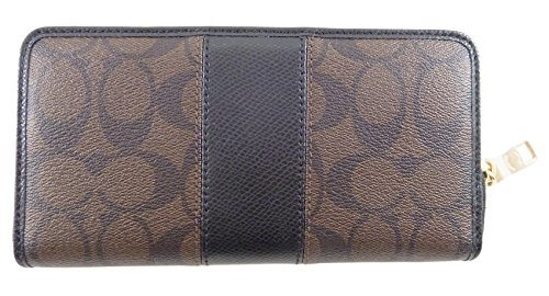 Coach Signature PVC and Leather Accordion Zip Around Wallet in Brown & Black