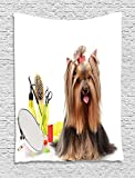 asddcdfdd Yorkie Tapestry, Yorkshire Terrier with Stylish Hairdressing Equipment Mirror Scissors, Wall Hanging for Bedroom Living Room Dorm, 60 W X 80 L Inches, Dark Brown Multicolor