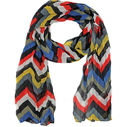 Stripe Crinkle Scarf (Black Gray Yellow Red Zigzag Stripe Crinkle Scarf)