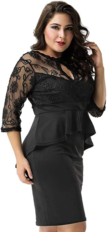 DKNMOL Erotische Strumpfhosen Für Damska Bleistiftkleid Plus Size Elegant Black Embroidery Lässiges Schößchenkleid: Odzież