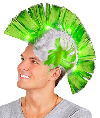 Fun Central AD153, 1 Pc Green LED Light Up Mohawk Wig, Light Up Mohawk Hat, Hat costume for Men, Costume Wigs, Light Up Wig, Light Up Neon Hats, Glow in the Dark Mohawk for St. Patrick's Day Party
