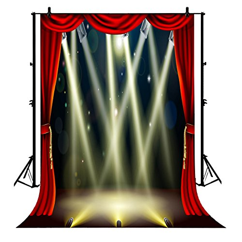 7x5ft Red curtain Broadway Stage lighting party wedding wall party PolyesterPhotographyBackdropPhotographyPropsStudioPhotoBoothProps from BackdropDecor