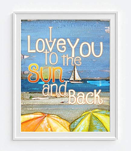 (I Love You to the Sun and Back, Danny Phillips Art Print, Unframed, Vintage Sailboat Ocean Coastal Beach Umbrellas Nautical Wall Art, Mixed Media Collage Painting, 8x10 Inches)