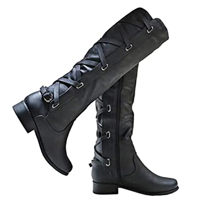 7a7651b3d74b Amazon.com | Syktkmx Womens Winter Lace Up Strappy Knee High Motorcycle Riding  Flat Low Heel Boots | Knee-High