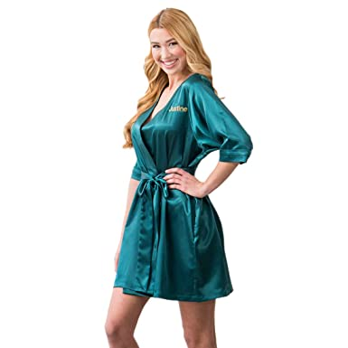 Amazon.com: Weddingstar Inc. Womens Personalized Satin Robe with ...