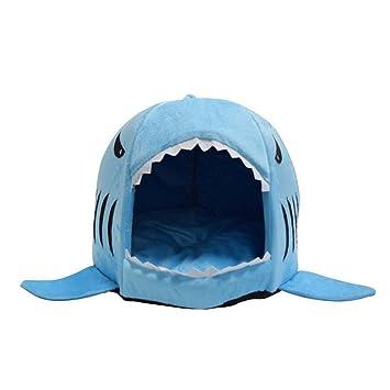 Kingnew Tiburón Soft Round Pet cama nido de Kennel Cosy - Cojín plegable Indoor House Bed Shelter para bonitas Cachorros gato perro (tamaño grande, ...