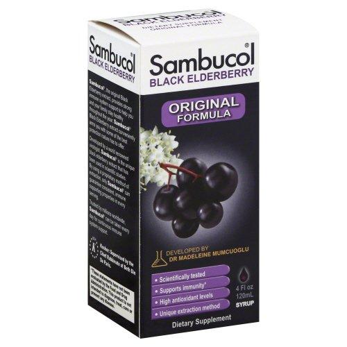 (Sambucol Black Elderberry Syrup - Support Immune System- Great Taste - Sugar Free - 4 oz (Pack of 3))