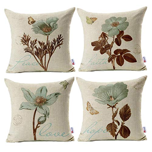 Monkeysell Pack of 4 Lotus Leaf Butterfly Flowers Pattern Cotton Linen Throw Pillow Case Boho Floral Printed Pillow Cushion Cover Home Sofa Decorative 18 X 18 Inch (Cushion Cover) ()