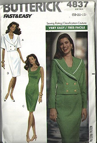 Butterick 4837 Sewing Pattern for Fast Easy Short Double Breasted Jacket with Sleeveless Fitted Princess Seamed Bodice Wiggle Dress