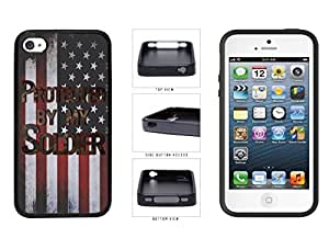Camouflage Protected by Soldier on USA Flag TPU RUBBER SILICONE Phone Case Back Cover Apple iPhone 4 4s
