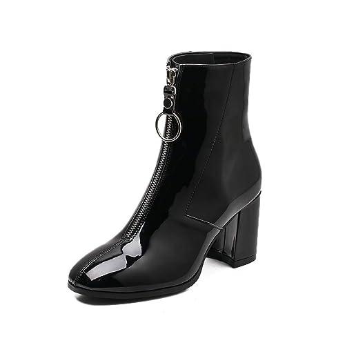 Botas De Mujer Botas De Charol Botines De TacóN Cuadrado Frente De Lujo Anillo De Metal Cremallera Tacones Altos Zapatos De Forro De Piel Corta: Amazon.es: ...