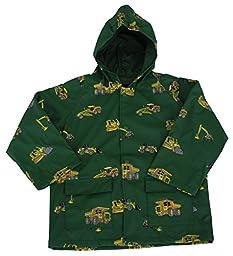 FoxFire Kid\'s Construction Equipment Raincoat, Green, 2T