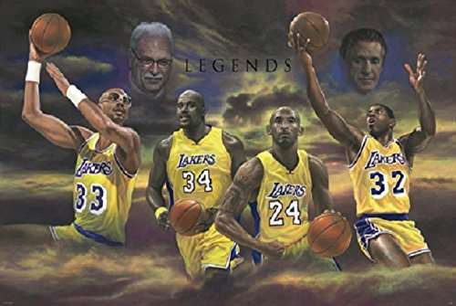 Poster Los Angeles Lakers Basketball - Los Angeles Lakers Legends Fan Art Poster, (24x36)