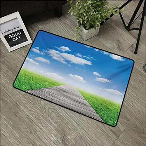 (Anzhutwelve Country,Christmas Doormat Pathway Towards Meadow Rural Countryside Miracle Supernatural Sky with Clouds W 24