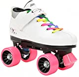 White Pacer Mach-5 GTX500 Quad Speed Roller Skates with Rainbow Laces (Mens 5 / Ladies 6)