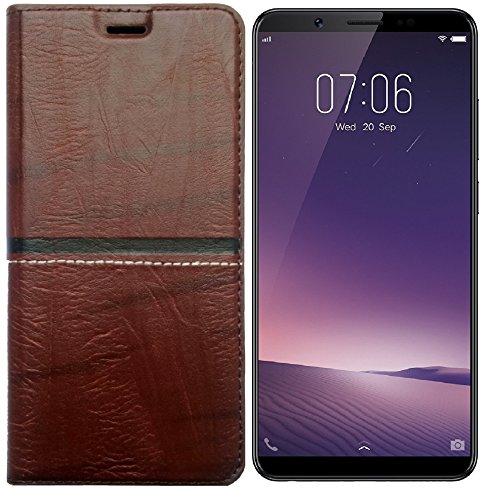 MARSHLAND Leather Inner Soft Silicon Wallet Case Designer Flip Cover for Vivo V7 Plus  Dark Brown