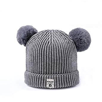 World 2 home Cute Winter Baby Girls Knit Hat with Pompom New Skullies  Beanies for Kids Raccoon Fur Pom Poms Hat Crochet Knitted Hat Caps   Amazon.in  ... bff9e6648e0