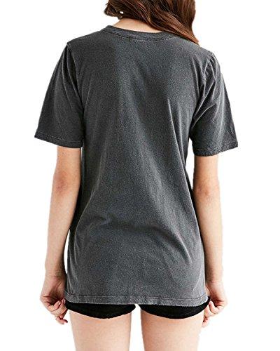 StyleDome Mujer Camiseta Elegante Mangas Cortas Blusa Cuello Pico Noche Oficina Casual Gris Oscuro