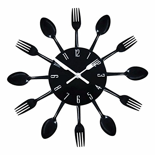 Modern Design 3D Stainless Steel Kitchen Wall Watch Quartz Knife Fork Spoon Clock Creative Clock Home