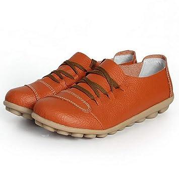 Schnüren Leder Damen Beiläufig Schuhe Fuxitoggo Fahren c3LR54jAq