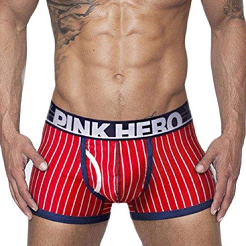Men's Underwear,Neartime Underpants Stripe Mens Boxer Briefs Cotton Trunk (M, Red)