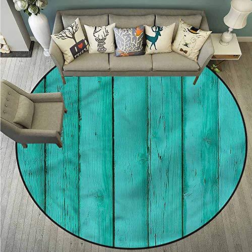Indoor/Outdoor Round Rugs,Mint,Wooden Rustic Oak Plank,Rustic Home Decor,3'3
