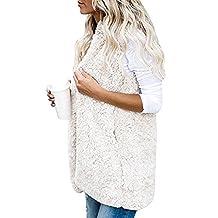 Women Sleeveless Sherpa Fleece Hooded Open Front Vest Cardigan With Pockets