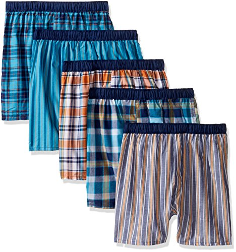 Fruit of the Loom Big Boys' 5 Pack Covered Waistband Boxer, Assorted, - Waistband Boxers Woven
