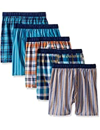 Fruit of the Loom Boys Woven Boxer, Covered and Uncovered Waistband (Pack of 5) Boxer Shorts