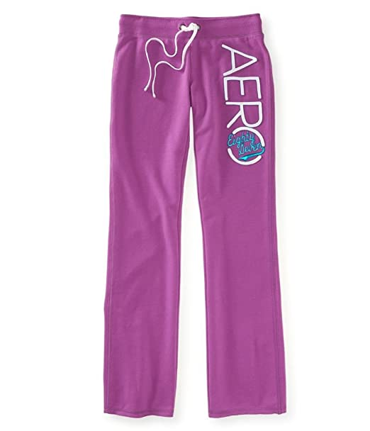 f2b01dbbcb75c Aeropostale Womens Fit And Flare Embroidered Athletic Sweatpants Purple  XS 32 - Juniors