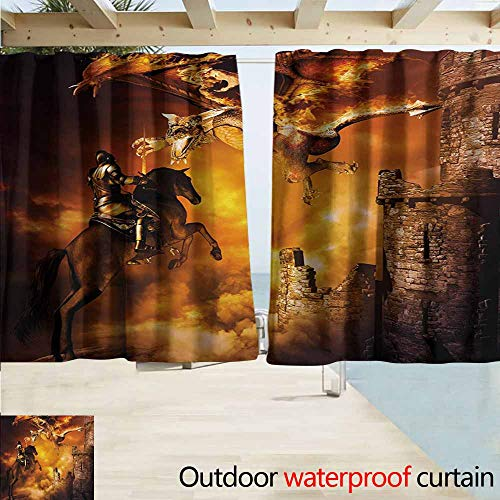 AndyTours Balcony Curtains,Modern Kids Nursery with a Knight on a Horse Castle Mystic Fairytale Artwork Print,Energy Efficient, Darkening,W72x72L Inches,Black and Marigold