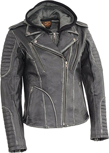 Women's Rub-off Leather M/C Jacket w/ Removable Full Hoodie Jacket Liner (X-Large) - Rub Off Black Leather Boots