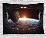 Ambesonne Outer Space Tapestry, Window View from Spaceship Station to Universe Celestial Discovery Fiction Art, Wall Hanging for Bedroom Living Room Dorm, 80 W X 60 L inches, Grey Black