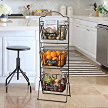Mesa Delaware Floor Standing 3-tier Basket in Antiqued Black Finish with Chalkboard