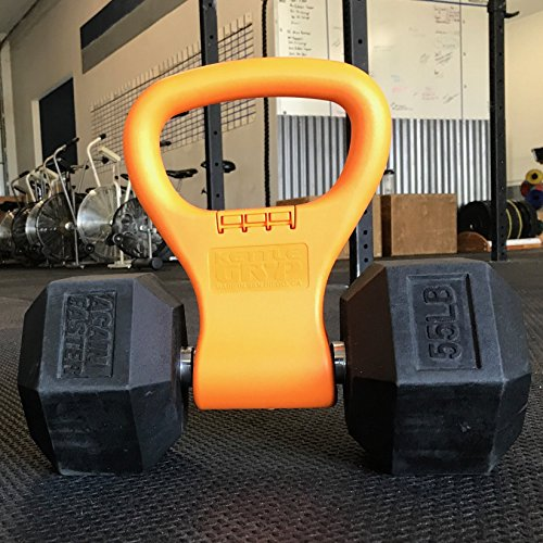 KETTLE GRYP - Quickly turn dumbbells into Kettlebells. Portable, light-weight, economical way to expand your gym workout at home or while traveling. Dumbbell attachment that saves space and money.