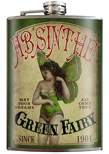 Green Fairy Absinthe 8oz Stainless Steel Flask comes in a Gift Box by Trixie & Milo ()