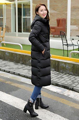 Hooded Slim Jacket Ru Women Cotton Padded Xiang Solid Warm Long Black 6wqWnp1