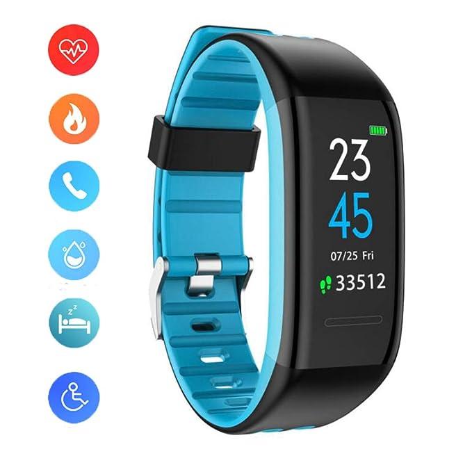 YK WATCH Reloj de Pulsera Fitness Inteligentes con Pulsómetros Podómetro Dormir Monitor de Calorías Llamada& SMS Alerta para Hombre Mujer Android y iOS,Blue