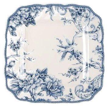 222 Fifth Adelaide Blue & White Dinner Plates, Set of 4