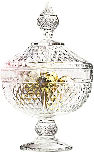 Circleware Italian Cut Footed Glass Candy/potpourri Dish/jar/bowl with Glass Lid and Handle, 6