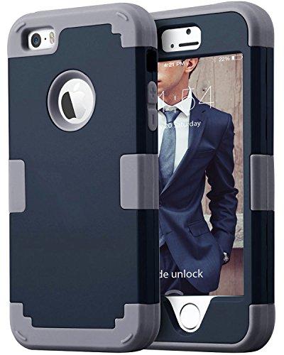 iPhone SE iPhone 5S 5 Case BENTOBEN Shockproof 3 in 1 Case for iPhone SE 5S 5 Navy Blue/Dark Gray