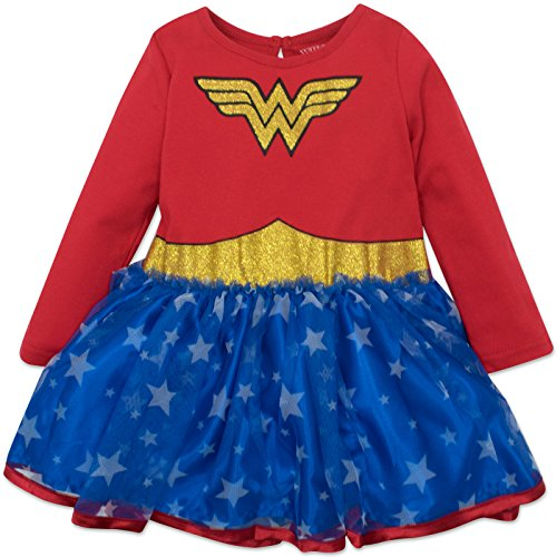 Wonder Woman Girls Costume Tutu Dress with Long Sleeves, Red, 2T]()
