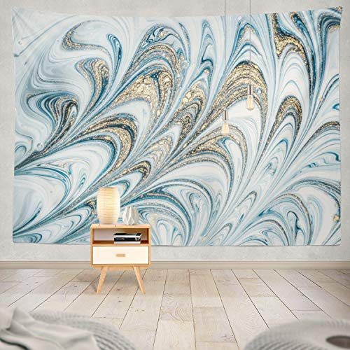 Soopat Tapestry Polyester Fabric Natural Luxury Swirls Marble Ripples Agate Ottoman Turkish Marbling Art Golden Powder Fluid Wall Hanging Tapestry Decorations for Bedroom Living Room Dorm 60X50 inch ()