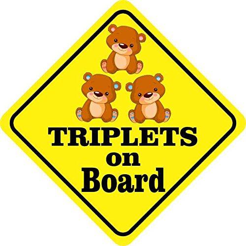 5x5 Two Boys One Girl Triplets on Board Sticker Car Truck Vehicle Bumper Decal