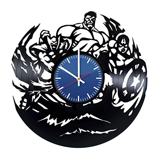 Avengers Superheroes Vinyl Record Wall Clock - Contemporary and Creative Room Wall Decor - Modern Comics Fan Art - Best Gift Idea For Youth and (Black Widow Avengers Costume Fabric)
