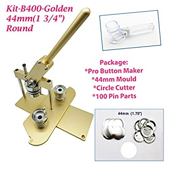 Image of Buttons ChiButtons (KIT) 44MM(1.75') Pro Badge Machine Button Maker B400 + Mould + 100 Parts + Circle Cutter Metric System (Golden)