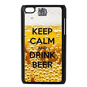 Personality customization TPU Case with Keep Calm Drink Beer iPod Touch 4 Case Black