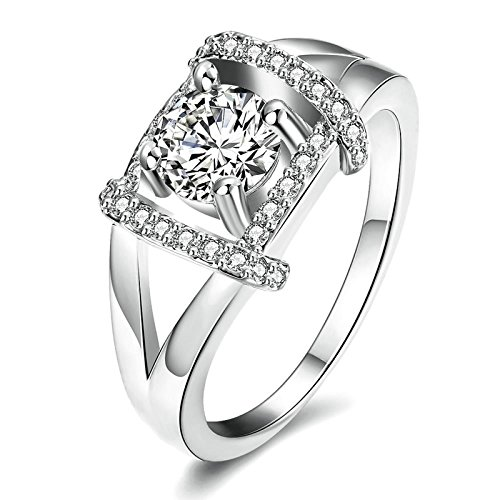 3ct Past Present Future Ring - Gnzoe Fashion Jewelry Hollow Square Round Crystal Silver Women Jewelry Engagement Rings Size 8