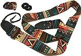 Vintage Aztec Colors Guitar Strap Bundle Includes 2 Strap Locks & 2 Unique Picks. Adjustable Polyester Guitar Strap - Suitable For Bass, Electric & Acoustic Guitars